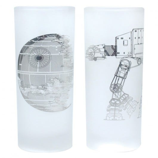 Death Star and AT-AT Walker Glasses Set of 2