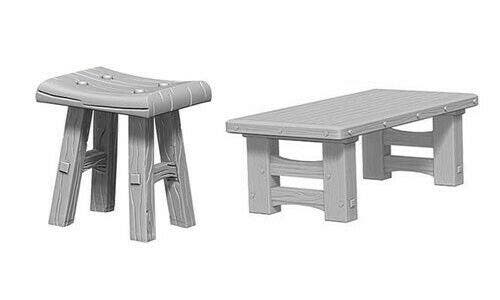 Wooden Table and Stools W4