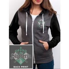 Slytherin House Crest Grey Zip-up Hoodie (XL)