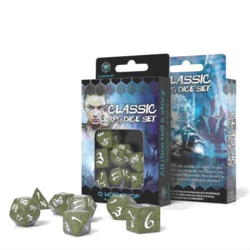 Classic Olive and White RPG Dice Set (7)