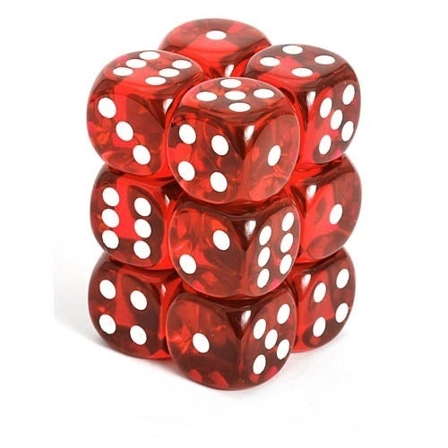 Translucent 16mm D6 Red/White (12)
