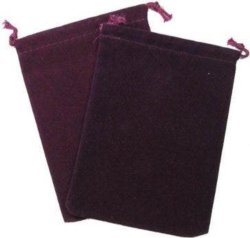 Burgundy Velour Dice Pouch (Small)