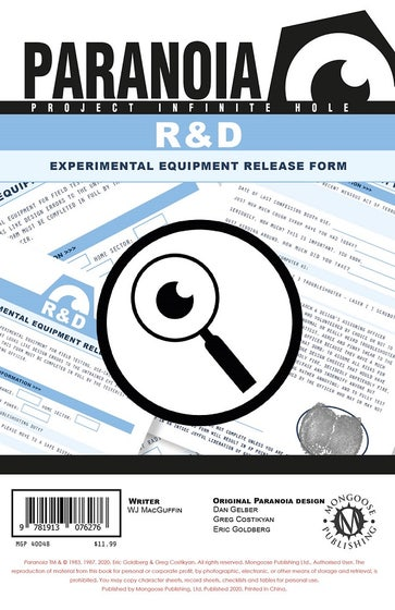 Research and Design Experimental Equipment Release Form Pad