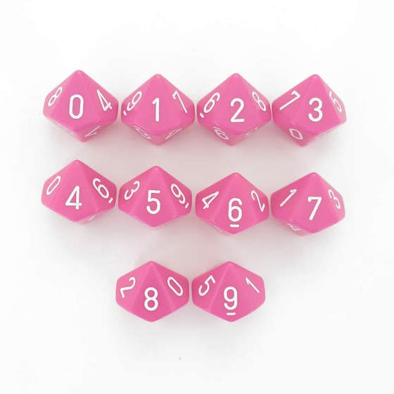 Opaque D10 Pink /White (10)