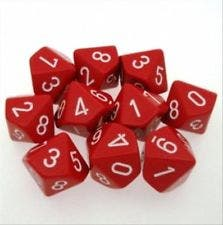 Opaque D10 Red /White (10)