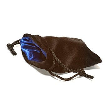 Velvet Dice Bag Black with Blue Lining Small