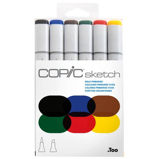 Copic Sketch Markers Bold Primaries (6)