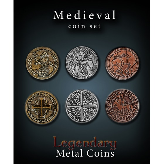 Medieval Units Metal Coins Set (24)