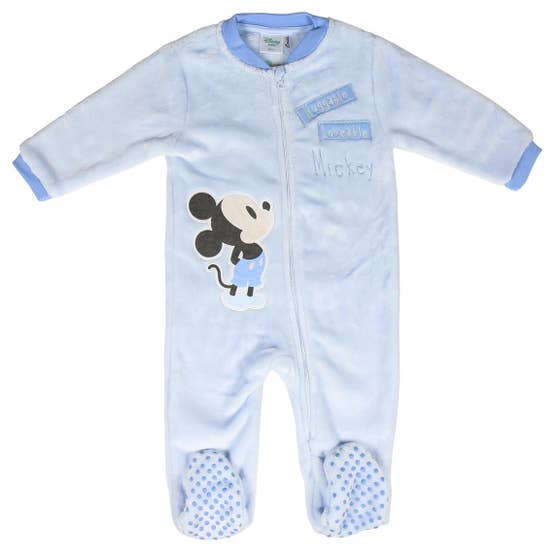 Mickey Mouse Baby Blue Fleece Onesie (12 Months)