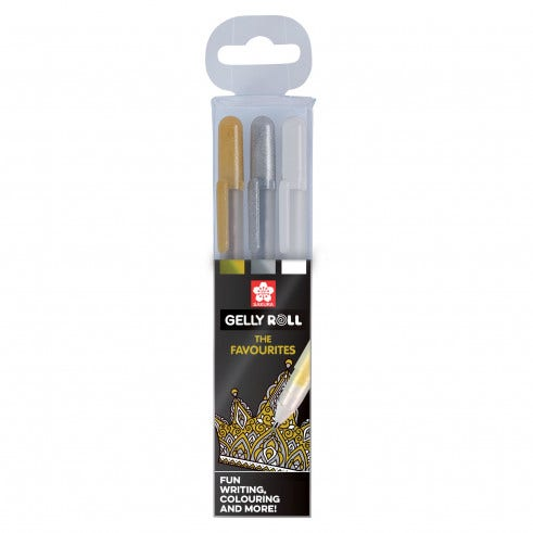 Favorites Gelly Pens Gold Silver White (3)