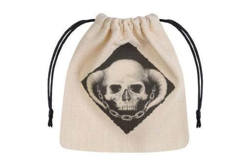 Beige Bag With Black Skull
