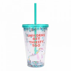 Unicorns Get Thirsty Too Cup with Straw