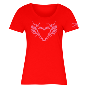Burning Heart Red Lady`s T-Shirt (M)