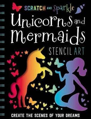 Scratch and Sparkle Mermaids / Unicorns Stencil Art