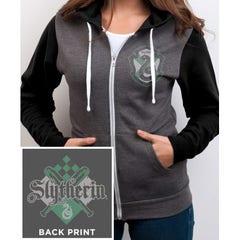 Slytherin House Crest Grey Zip-up Hoodie (L)