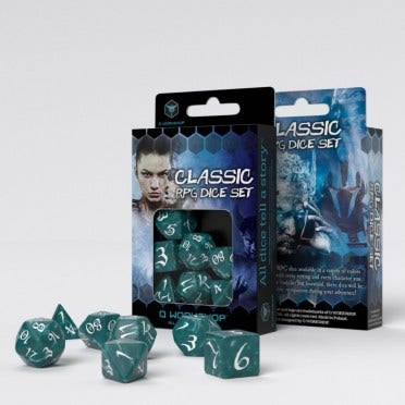 Classic Stormy and White RPG Dice Set (7)