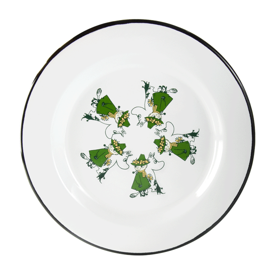 Moomintroll and Snufkin Green Enamel Plate 24 cm