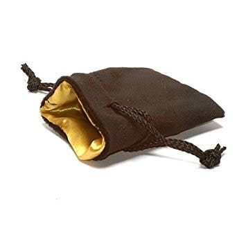 Velvet Dice Bag Black with Gold Lining Small