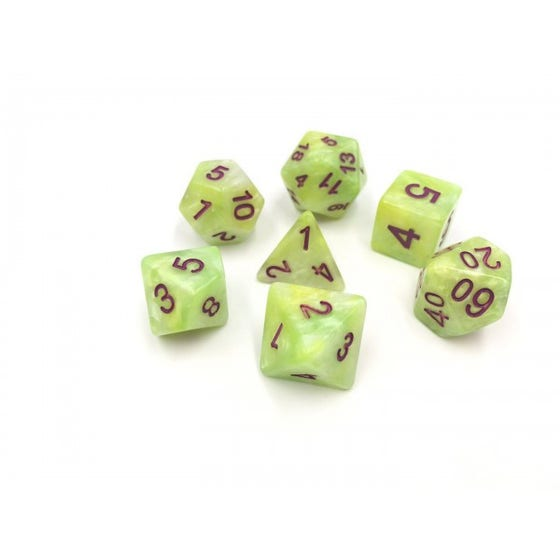 Marble Poly Green, Yellow, White /Purple (7)