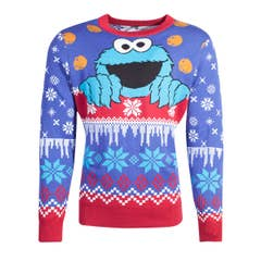 Cookie Monster Knitted Christmas Jumper (S)