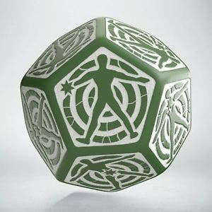 Green & White D12 Hit Location Dice